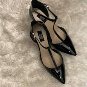 Patten leather heels
